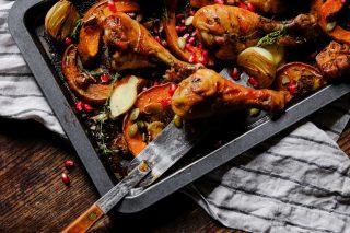 Pollo al forno con zucca