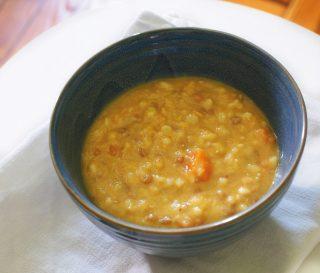 Zuppa di orzo con curry e lenticchie al bimby