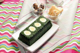 Sformato di spinaci e uova di quaglia