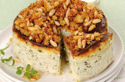 Torta di ricotta alle erbette con crumble di pane e pinoli al bimby