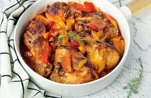 Pollo e peperoni al forno