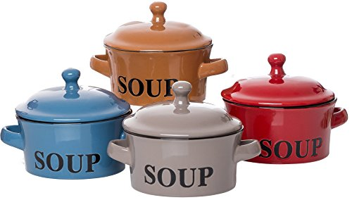 Set di 4 tazze da zuppa in ceramica