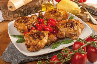 Sovracosce di pollo speziate con pomodori alla menta