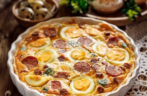 Torta salata uova e salsiccia
