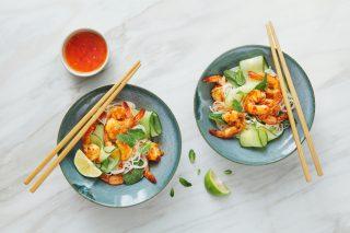 Pasta di riso e gamberi, sapore orientale